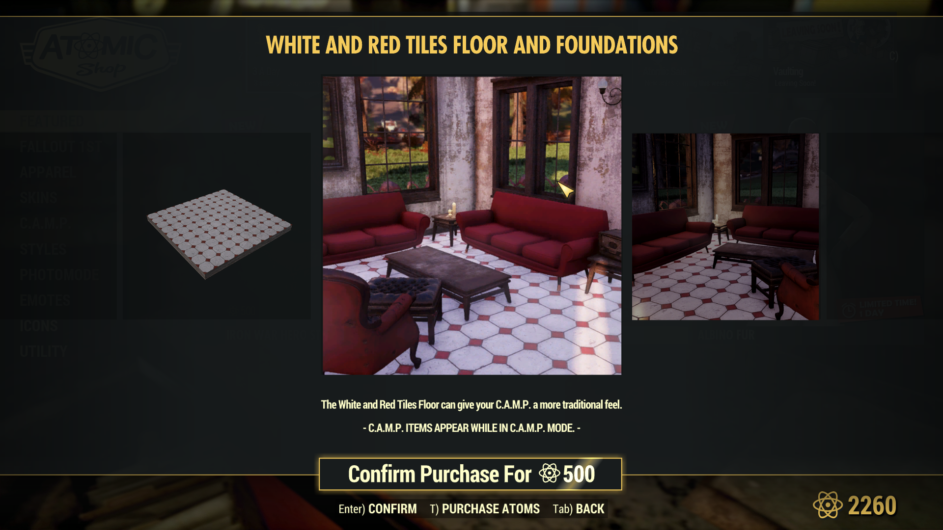 White and Red Tiles Floor and Foundation